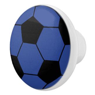 青いサッカーボールの陶磁器のノブ セラミックノブ