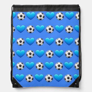青いサッカーボールのEmojiのドローストリングバッグ ナップサック