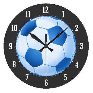 青いサッカーボール ラージ壁時計