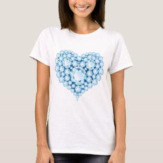 青いサファイアのハートの宝石 Tシャツ