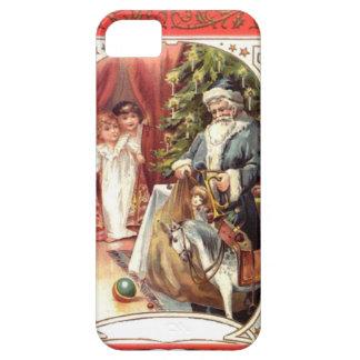 青いサンタおよびクリスマスツリー iPhone SE/5/5s ケース