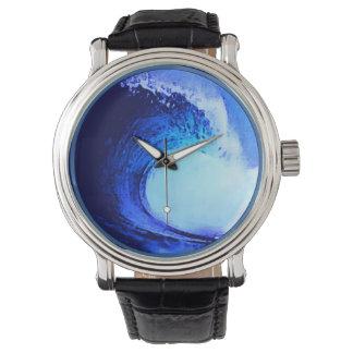 青いサーフィンの波の管 腕時計