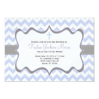 青いシェブロンの洗礼の招待状 カード