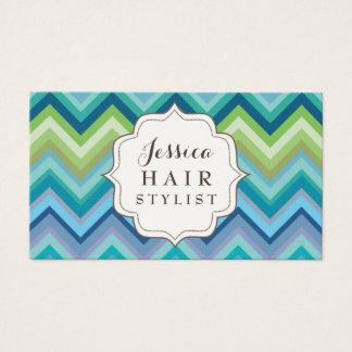 青いシェブロンパターン美容師の名刺 名刺