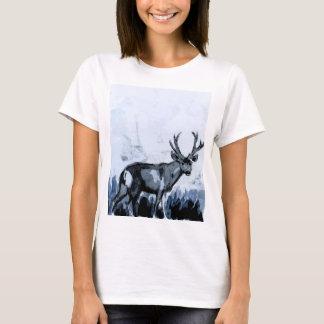青いシカの水彩画のTシャツ Tシャツ