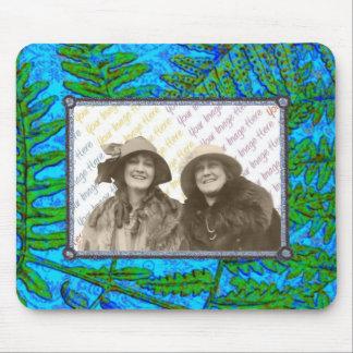 青いシダの写真のmousepadのテンプレート マウスパッド