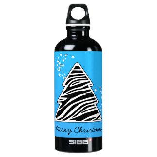 青いシマウマのクリスマスツリー ウォーターボトル