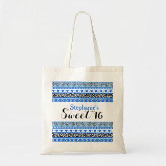 青いシマウマのハートの菓子16のネックレス トートバッグ