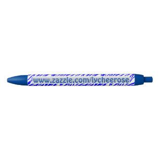 青いシマウマのプリントのlycheeroseのペン 青ボールペン