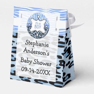 青いシマウマ、ヒョウの男の子のベビーシャワーの好意箱 フェイバーボックス