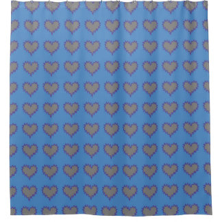 青いシャワー・カーテンの銀製のハート シャワーカーテン