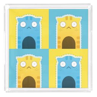 青いショウガ猫のサービングの皿 アクリルトレー