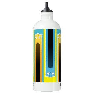 青いショウガ猫のストライプのな旅行者の水差し ウォーターボトル