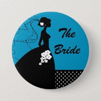 青いシルエットの花嫁のブライダルパーティボタン 7.6CM 丸型バッジ