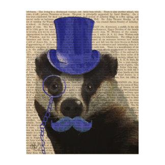 青いシルクハットおよび口ひげを持つアナグマ ウッドウォールアート
