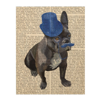 青いシルクハットおよび口ひげを持つフレンチ・ブルドッグ ウッドウォールアート