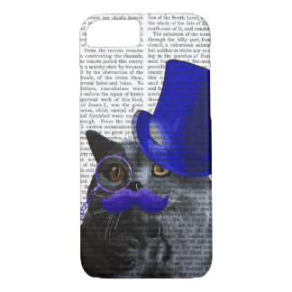 青いシルクハットおよび青い口ひげを持つ灰色猫 iPhone 8/7ケース