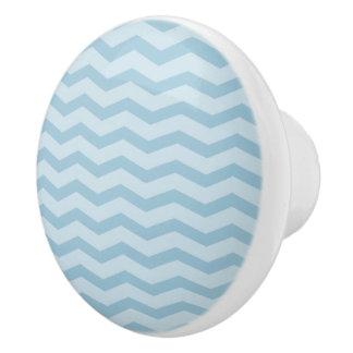 青いジグザグ形のシェブロンパターン陶磁器の引きのノブ セラミックノブ