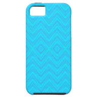 青いジグザグ形のダイヤモンドパターンiPhone 5の箱 iPhone SE/5/5s ケース