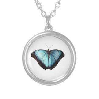 青いジプシーの蝶ネックレス シルバープレートネックレス
