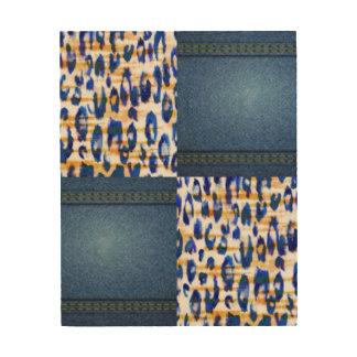 青いジーン動物パターンプリントのデザイン ウッドウォールアート