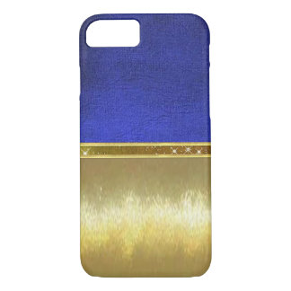 青いスエードの輝きの金ゴールドのデザインの箱 iPhone 8/7ケース