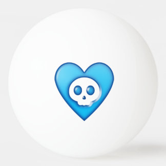 青いスカルのハートのピンポン球 卓球ボール