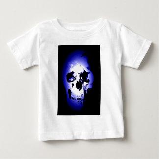 青いスカルの骨組 ベビーTシャツ