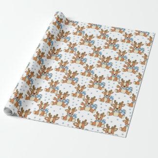 青いスカーフ、包装紙のクリスマスのトナカイ ラッピングペーパー