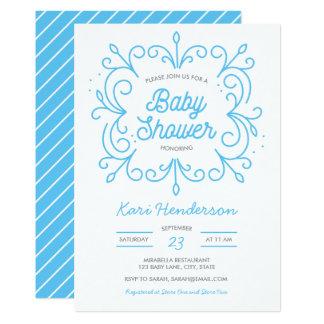 青いスクロールベビーシャワーの招待状 カード