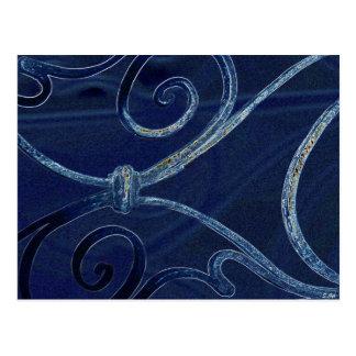 青いスクロール ポストカード