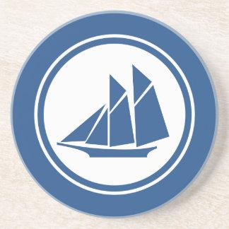 青いスクーナー船のヨットの航海のなコースター コースター