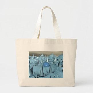 青いスパイクのエイリアンの地勢 ラージトートバッグ