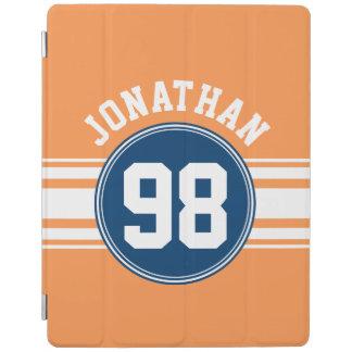 青いスポーツジャージーおよびオレンジのストライプな一流数 iPadスマートカバー