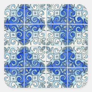 青いタイルのデザイン2 -渦巻 スクエアシール