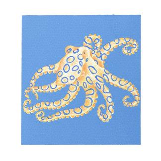 青いタコのステンドグラス ノートパッド