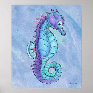 青いタツノオトシゴのプリント ポスター
