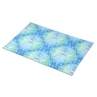青いターコイズおよびミントのイチョウの葉のキルトのデザイン ランチョンマット