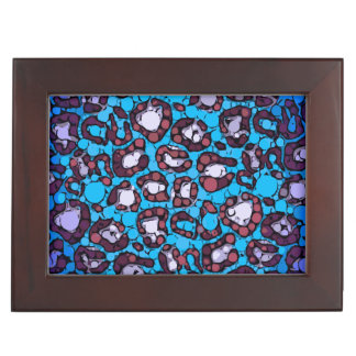 青いターコイズのチータの抽象芸術パターン 宝石箱