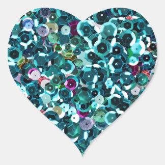 青いターコイズのティール(緑がかった色)の模造のなスパンコールのきらきら光るなハート ハートシール