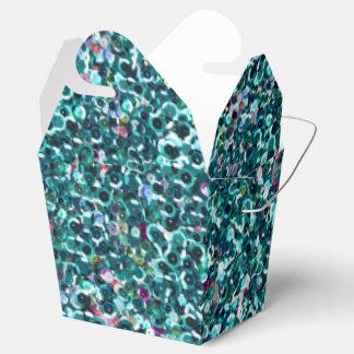 青いターコイズのティール(緑がかった色)の模造のなスパンコールのきらきら光るなプリント フェイバーボックス