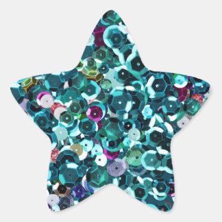 青いターコイズのティール(緑がかった色)の模造のなスパンコールのきらきら光るな星 星形シールステッカー