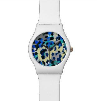 青いターコイズの黒のチータの抽象芸術 腕時計