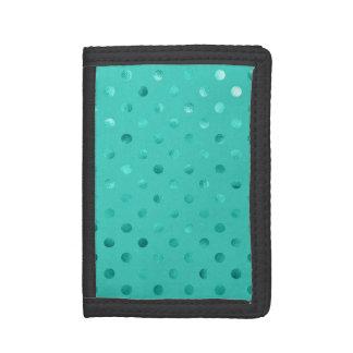 青いターコイズ金属模造のなホイルの水玉模様の水