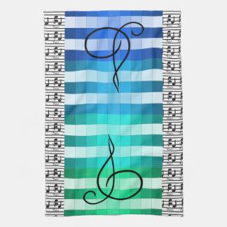 青いターコイズ音楽的な音楽ミュージシャンの台所ギフト キッチンタオル