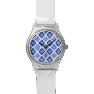 青いダイヤモンドのイカットパターン 腕時計