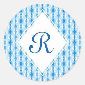 青いダイヤモンドのモノグラム ラウンドシール
