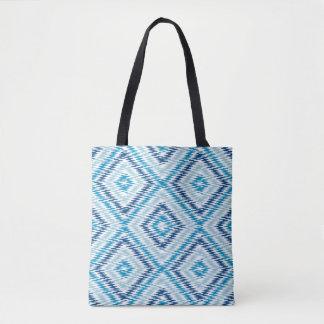 青いダイヤモンドパターン トートバッグ