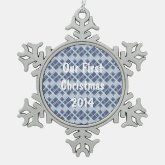 青いダイヤモンド スノーフレークピューターオーナメント