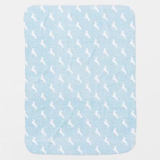 青いダックスフントのプリント ベビー ブランケット